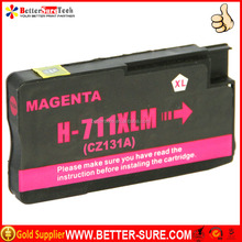 Quality compatible hp 711 ink cartridge MAGENTA with genuine cartridge printing performance