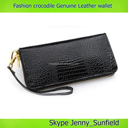 zipper fashion crocodile genuine leather wallet multicolor