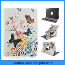 Cute flowers pattern 360 degree rotate standing leather case cover for ipad air 2