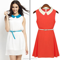 2015 women's new Europe and the United States of big shop sign sleeveless fresh brought the chiffon stitching temperament dress