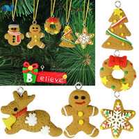 6Pcs Christmas Ornament Polymer Clay Drop Pendants Christmas Tree Phone Hanging Accessories Gift