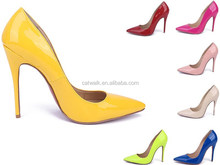 Big Promotion Women High Heel Closed Mouth Pumps Yellow Patent Leather Pointed Toe Women Shoes CL
