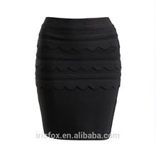 Negro mini-cortos faldas con volantes de encaje con apretado falda lápiz