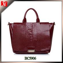 Cheap woman leather tote bag snak skin handbag chian manufacturer china