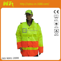 high quality reflective parka man jacket polyester winter life motorcycle jacket long sleeves jacket comply with EN20471