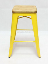 yellow industrial metal counter stools with solid wood seat GA201