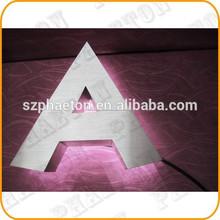 sistema de iluminación decorado con retroiluminación cepillo de metal de acero inoxidable letras