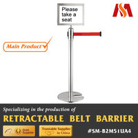 Stainless Steel 304 metal Indoor Bank Waiting Queue Line Management Sign Crowd Control Barrier Post