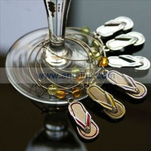A05077 Flip Flop design silver colorful Wine Glass Charms