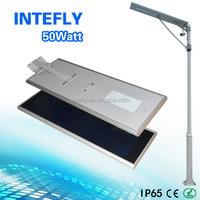 Long lifespan brigelux ip65 50w led integrated solar street light with solar panel 18v 86w
