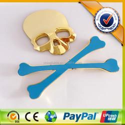 Skull Shaped 3D Plastic Gold Color Decorative Car Badge/Car Emblem/Car Logo
