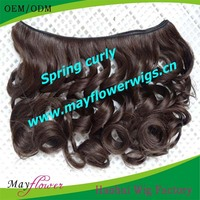 Fashion looking natural black pictures medium curly hair styles machine made hair wefts bundles free shipping to US