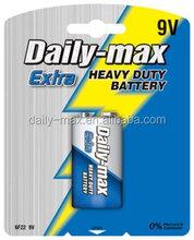9v 6F22 heavy duty zinc carbon battery