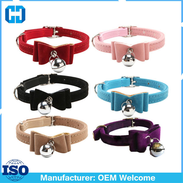 Safety-Elastic-Bowtie-Bell-Cat-Kitten-Collar-Velvet-Bow-Tie-Little-Pet-Neck-Chain-For-Cats