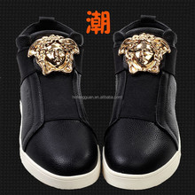 2015 New Fashion Gold Shoes for men Genuine Leather Sneakers Spring/Autumn patricks G brand Z sneakers Skate shoes Man