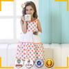 Orange and gray polka dots vintage indian cotton dress for girls
