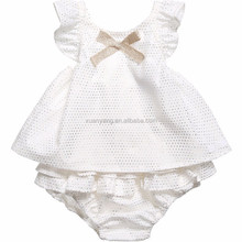 high quality 2pcs baby dress wholesale 100% cotton baby romper