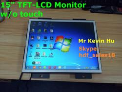 touch option, low cost 15 inch lcd monitor dvi vga input, av input mini lcd for atm & kiosk