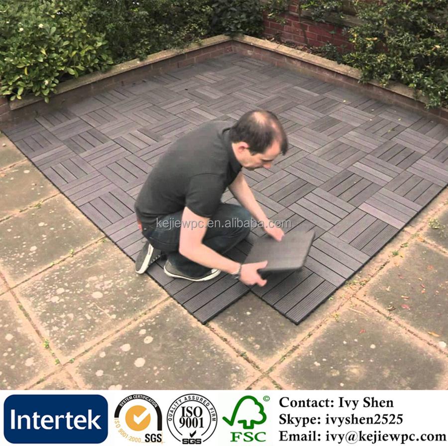 Composite platelage bricolage verrouillage de carreaux de terrasse WPC