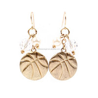 Gold Basketball Dangle Earrings
