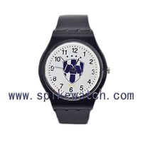 Add your logo waterproof black color plastic OEM men's promotion watch