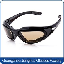 Outdoor Activity Sport Black Foam Padded Motorcycle Riding Sunglasses