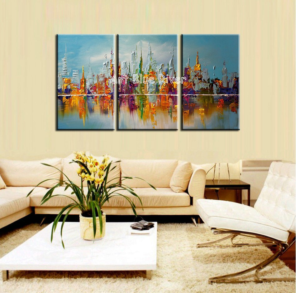 Buy 3 piece muti panel abstract handmade Building city canvas art Knife oil painting on canvas living room wall picture decoration cheap