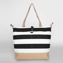 HD0997 Reshine Multiple Pocket 12oz Black Stripe Canvas Tote Nappy Bag to Hold Baby Things Shoulder Diaper Handbag
