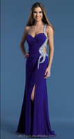 2014 Latest Style Beaded One Shoulder Ruffle Open Side Elastic Satin Ready To Ship Prom Dress