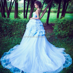 JM. Bridals OW314 Blue Ivory Tulle Layers Ball Gown Wedding Dress with Long Tail