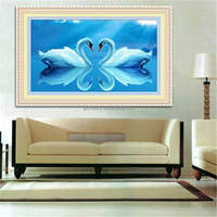 5D DIY Diamond Embroidery Swan River Kiss Cross Stitch Round Drill Heart Pattern Home Decorative Paintings