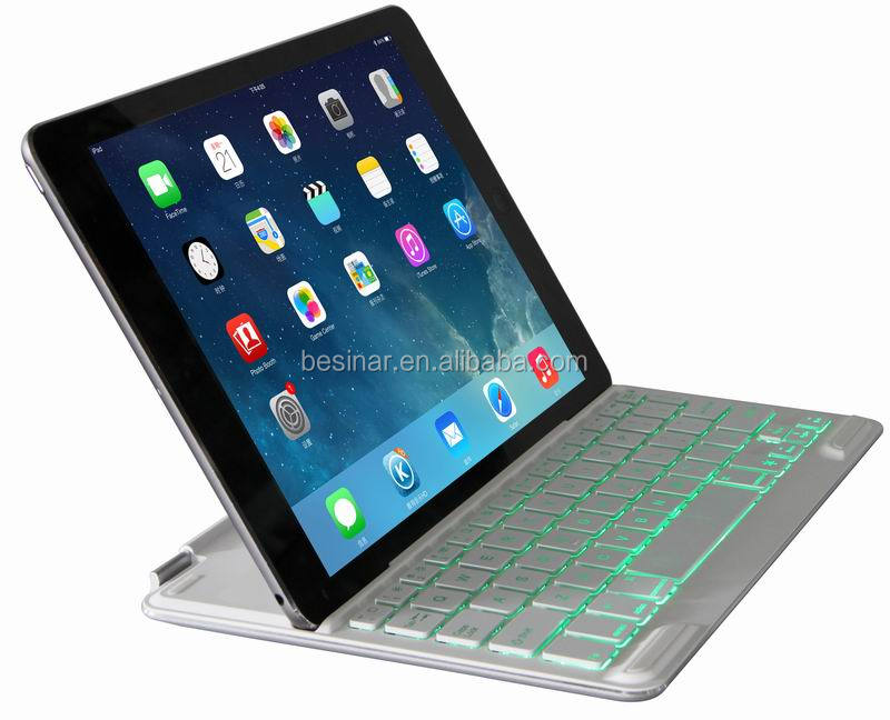 Slide out bluetooth keyboard case for iPad air Rotatable Case with bluetooth keyboard