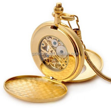 Vintage European classic Hollow Mechanical Pocket Watch Necklace Watch Birthday Gifts (Gold)