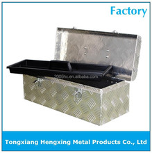 Portable aluminum truck tool box with plastic shelf for tools