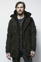 Para hombre 100% de lona de algodón largo chaqueta parka con capucha para el invierno