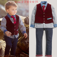 T30898 European and American preppy style boy's gentlemen denim sets of four (shirt+vest+tie+jeans)