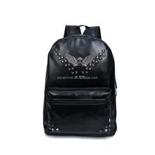 Custom studded stylish black PU women leather backpack
