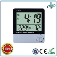 9 years manufacturer digital wall clock thermometer hygrometer, indoor room temperature thermometer