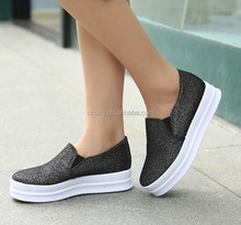 C20458B New Arrival Young Ladies Women Casual High Heel Canvas Shoes