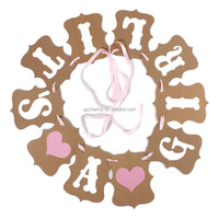 2015 Fashion Design Vintage Style Baby Shower Party Birthday Heart Banner Decoration Kraft Paper Ribbon