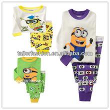 venta por mayor 2014 nueva costilla de bebé de punto conjunto ropa de dormir, pijamas fijados, manga larga