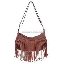 PU Leather Women Vintage Shoulder Bag Handbag Messenger Bags With Tassel
