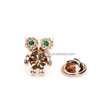 High Quality Crystal Lapel Pins/Cute Animal Lapel Pins/Owl Lapel Pins