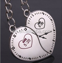 The clock peach ornament mood couple keychain key ring metal key ring For lovers