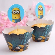 Hot Sale Minion Despicable Me cupcake wrappers & toppers birthday party supplies wedding cake decoration