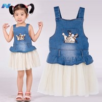 Fashion Girls Super Cute Jeans Tulle Dress Party Dress Suspender Birthday Gift