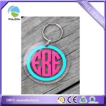custom transparent clear acrylic plastic print circle keychain