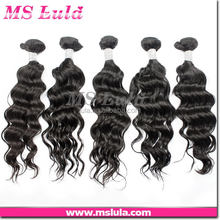 nice 7A grade price custom fifted natural wave human hair weave gray