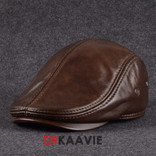 wholesale genuine brown leather ivy hat with earflap inside