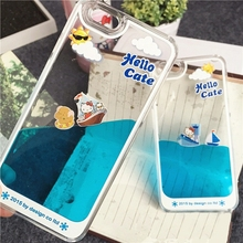 Newest Lovely Hello Kitty & animal Dynamic Liquid Quicksand Hard back cover Transparent Phone case For iphone 5/6/6 Plus
